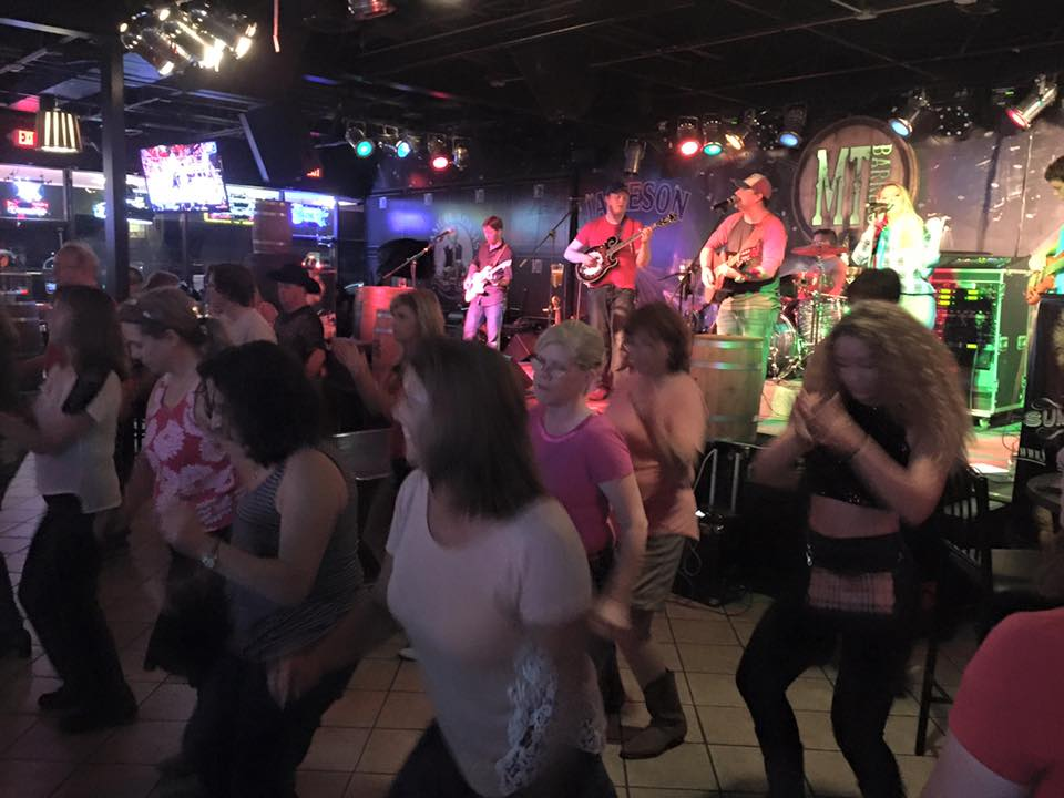 Some awesome line dancing during our set